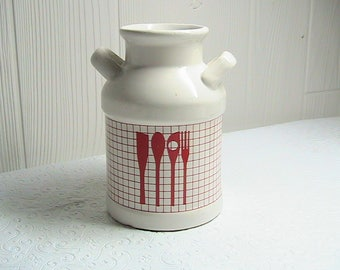 Crock, Small White Crock with Red Decor, Small White Utensil Crock