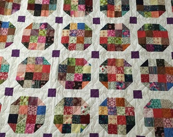 Sixteen Block Snowball Scrappy Throw Quilt Gift colorful FREE SHIPPING