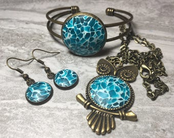 Blue Teal Owl Jewelry Set