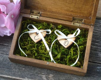 Personalized Wedding Ring Box Engraved Wooden Ring Box Rustic Ring Bearer Box with Moss