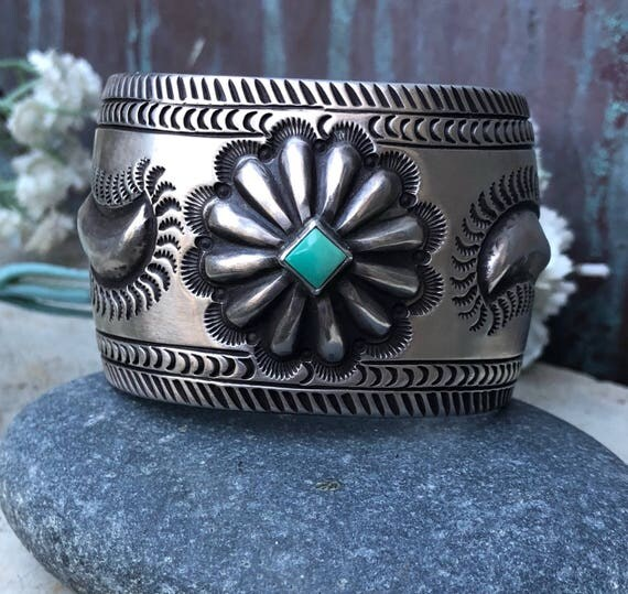 Sterling and turquoise Navajo repousse cuff Aaron Toadlena unisex