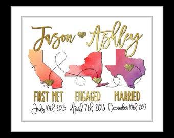 16th wedding anniversary uk map