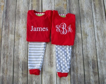 Personalized Children Christmas Pajamas- Monogrammed Pajamas-Matching Outfits-Brother Sister Matching Outfits-Matching Sibling Pajamas