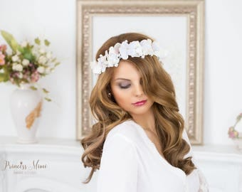 Flower Crown, Hydrangea Wedding Tiara Bridal flowers, Fairy Crown ,Floral Vine, Festival or Bridal Hair Wreath, Hair Flowers, ivory purple
