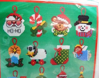 Plastic Canvas Needlepoint Christmas Ornament Kits Sold Individually Vintage Dimensions and NMI  Fun and Easy Mary's Neat Knits and Kits