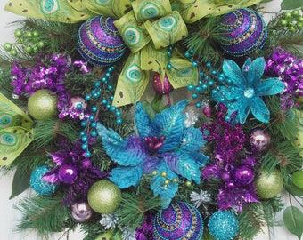 Christmas Wreath, Jewel Tone Christmas Wreath, XXXL Luxury Holiday Wreath