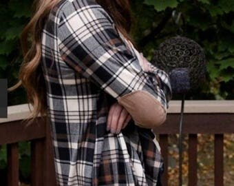 Plaid elbow patch cardigan, open, faux suede trim, Christmas gift, Ssle, fall, winter, s, m, small, medium, large, L, ladies, women's, teens