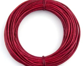 Pink Hot Natural Dye Round Leather Cord 1.0mm 100 meters (109 yards)