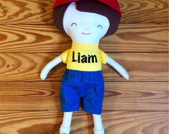 S.O. Doll. Custom order boy doll. Rag doll. Handmade. Cloth doll. Christmas gift