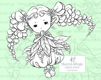 PNG Digital Stamp - Wisteria Sprite - Pigtails of Wisteria Flowers - digistamp - Fantasy Line Art for Cards & Crafts by Mitzi Sato-Wiuff