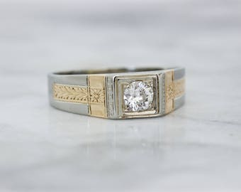 Art Deco Engagement Ring | Antique Diamond Ring | 14k White Gold Floral Ring | 1920s Mens Wedding Ring | Mixed Metals | Size 11.75 Sizable