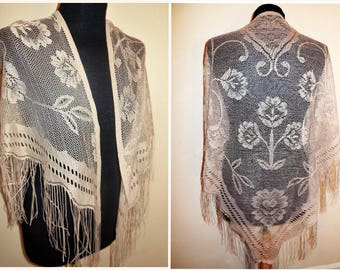 Vintage Lace Shawl Beige Triangle Long Fringe Sheer Scarf Shoulder Wrap Cover Up Retro Fashion Accessories Floral Design