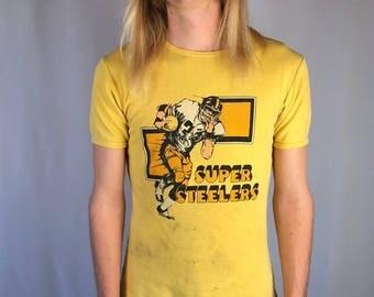Vintage Pittsburgh Steelers Ringer Tee Size MEDIUM