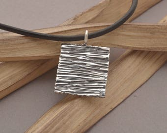 Mens Sterling Silver Pendant, Square Rock Pendant, Men's Jewelry, Ask for engravement by hand on the back, MA139