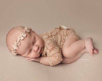 Newborn girl photo outfit lace photo props  romper set, newborn nude photo props baby girl open back long sleeve  romper props first photo