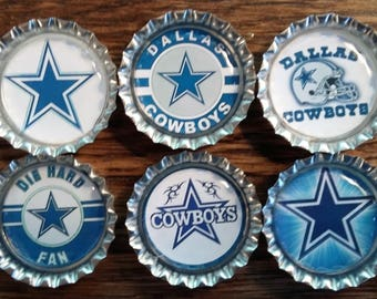 Six Dallas Cowboys on Silver Bottle Caps with Magnets