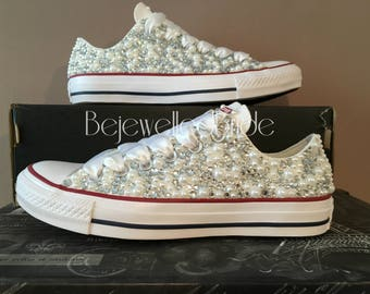 Stunning Wedding Converse all stars with crystal & Pearls