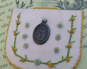french antique reliquary Ste Salette embroidery hand made old reliquary antique silver religious medal