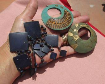 Lot Of Boho Green Hoops Broken Navy Blue Dangling Earrings