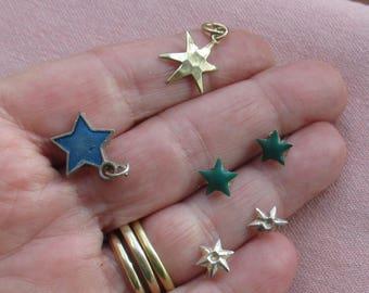 Lot Of Diminutive Star Pierced Earrings Charms Missing Rhinestones TLC