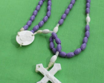 Retro Purple Plastic Beaded Rosary