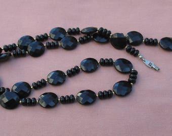 Vintage Black Plastic Beaded Long Necklace