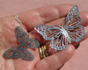 Lot Of Salvaged Stamped Metal Butterfly Pendants