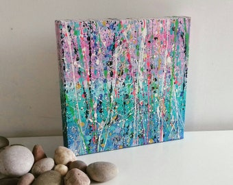 Original Abstract Splatter Art Canvas Painting 20x20cm by Alicia Lee