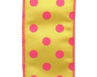 """Floral Ribbon, Pink & Yellow POLKA DOTS, 5 yards, #40, 2 1/2"""" Wired, Wreath Supply, Q2"""