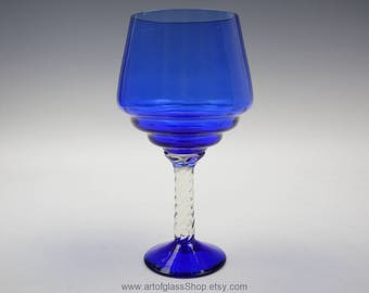 Cobalt blue glass brandy balloon/vase