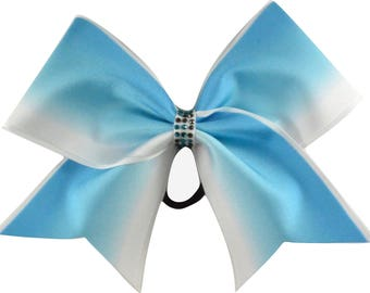 Blue Ombre Stripes Cheer Bow