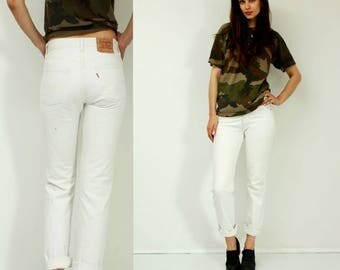 Vintage Levi's 501 White Jeans / Levis 501 W28 L32 Jeans / Made in USA / White Jeans /  / Grunge Jeans / Hipster Jeans / Size XS / S