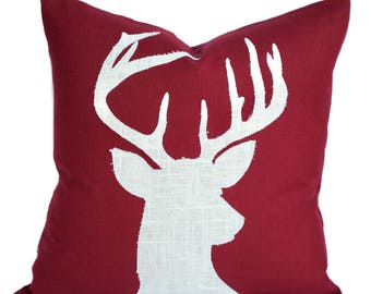 One Reindeer Christmas Pillow covers, holiday pillow, decorative pillow, Red Pillow, cushion, Christmas decoration