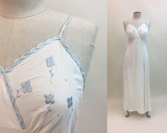 Vintage 1930s 1940s white Negligee / 30s 40s long Wedding Lingerie Slip Dress / Blue Trim