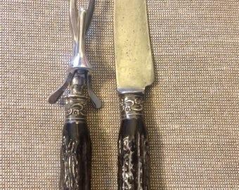Sterling and antler carving set