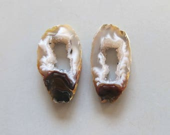 A Pair Natural Druzy Agate Geode Slices C5199