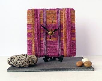 Wool Desk Clock - Stripy Wool Clock - Purple and Gold Wool Yarn - Square Desk Clock - Unique Clock
