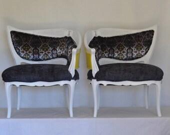 Chairs Hollywood Regency Assymetrical Cane Velvet Wood Pair