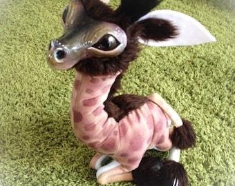 Baby Giraffe Art doll plush, stuffed animal, plush creature, giraffe doll