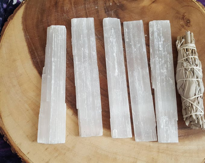 Selenite base for charging crystals, flat wand ~ 1 Reiki infused 6x1 inch (approximately) rough stick (wand)