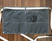 Custom order - Waxed duck canvas half apron in charcoal grey- Volcano Goods