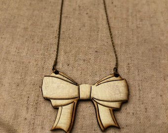 Laser cut bow necklace