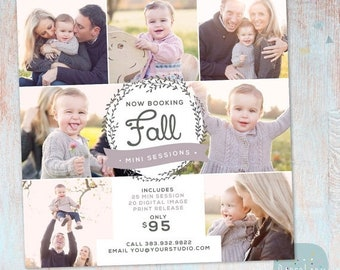 ON SALE Photography Marketing Board - Fall/Autumn Mini Sessions - Photoshop template - IW012 - Instant Download