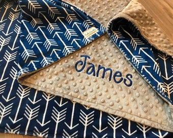 Royal blue Arrows Double sided Minky Baby Blanket, SALE!