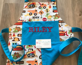 Toddler construction truck apron, personalized