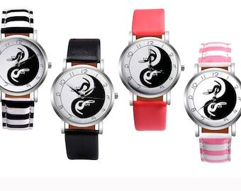 Casual Leather Women Wristwatch, Fashion Quartz Watch, Tai Chi Cat Watch, Ying and Yang Watch, Black and White Watch, Kitten Watch, Uk Watch