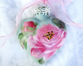 Pink Rose Heart Ornament ~ February Birthday ~ Shabby Rose Ornament ~ Sweetheart Gift ~ Handpainted Roses