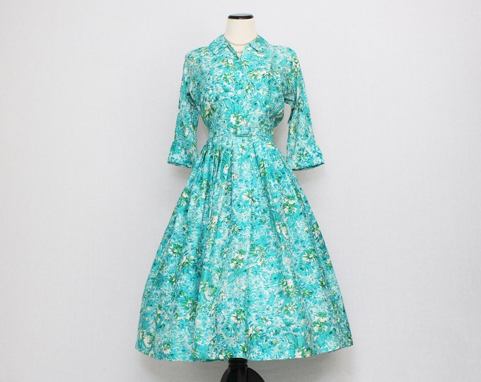 Vintage 1950s Turquoise Floral Print Silk Day Dress - Size Small