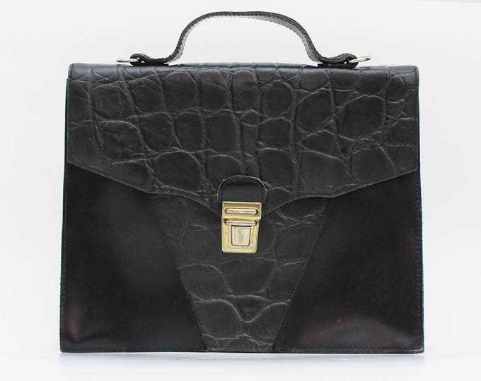 Vintage 1970s Black Leather Briefcase Handbag