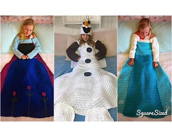 Frozen Anna, Elsa, and Olaf Blanket Crochet PATTERNS